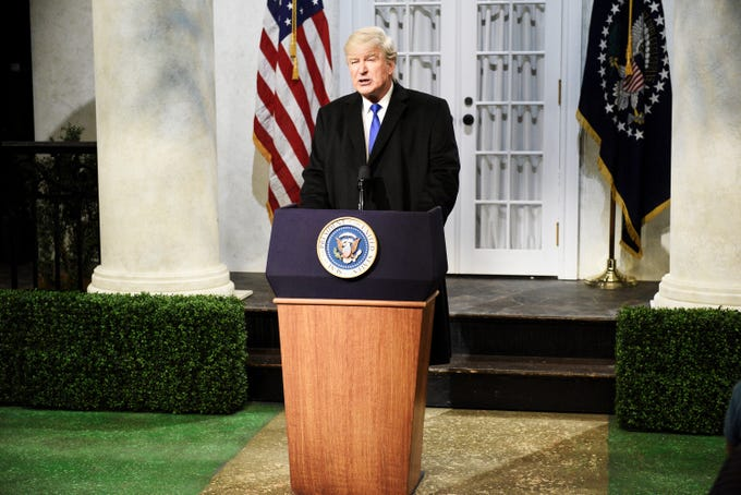 """You all see why I have to fake this national emergency, right?"" Alec Baldwin said at the top of ""Saturday Night Live"" on Feb. 16, mocking President Trump's Rose Garden speech announcing his latest gambit to get his border wall. ""I have to because I want to."" The skit irked the real occupant of 1600 Pennsylvania Avenue, who tweeted, ""THE RIGGED AND CORRUPT MEDIA IS THE ENEMY OF THE PEOPLE!"""