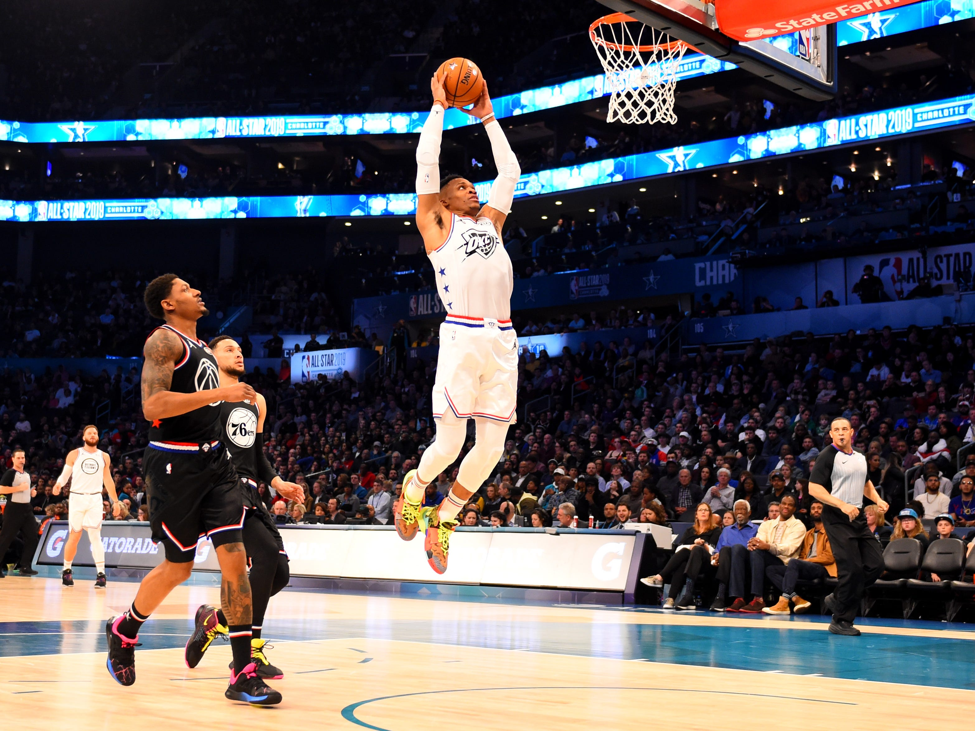 Russell Westbrook goes up for a dunk during the All-Star Game.