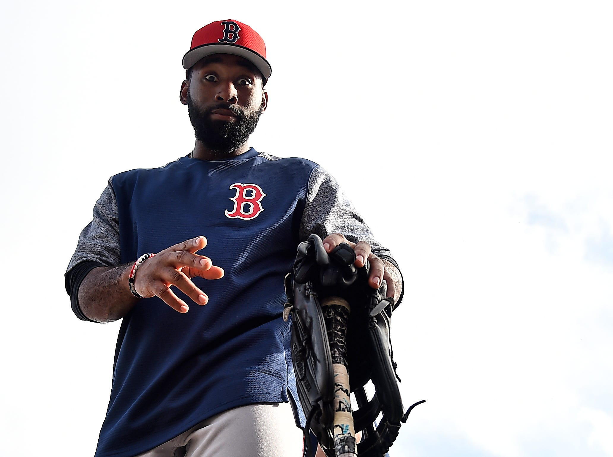 Feb. 18: Red Sox center fielder Jackie Bradley Jr. during a workout at JetBlue Park.