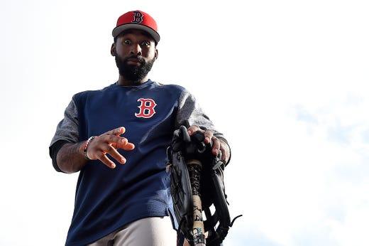 Feb. 18: Red Sox center fielder Jackie Bradley Jr. during a workout at JetBlue Park.