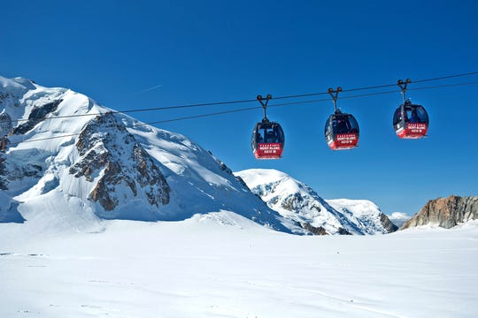 To get the best views on the Aguille du Midi gondola in the French Alps, try to be onboard first thing in the morning.