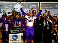 Denny Hamlin outlasts chaos to win wreck-filled Daytona 500 in overtime