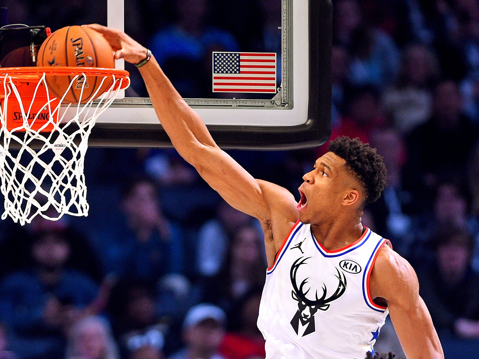 Giannis Antetokounmpo throws down a dunk during the All-Star Game.