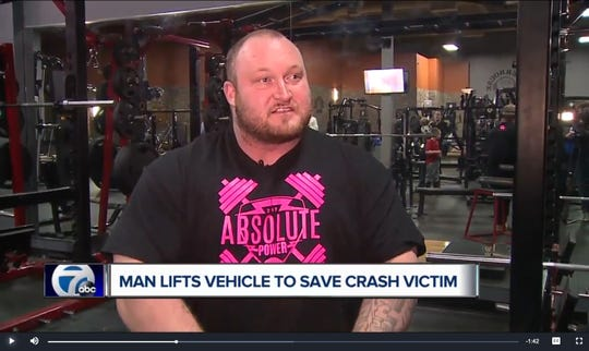An image from a report by Detroit's WXYZ-TV shows an interview with powerlifter Ryan Belcher.