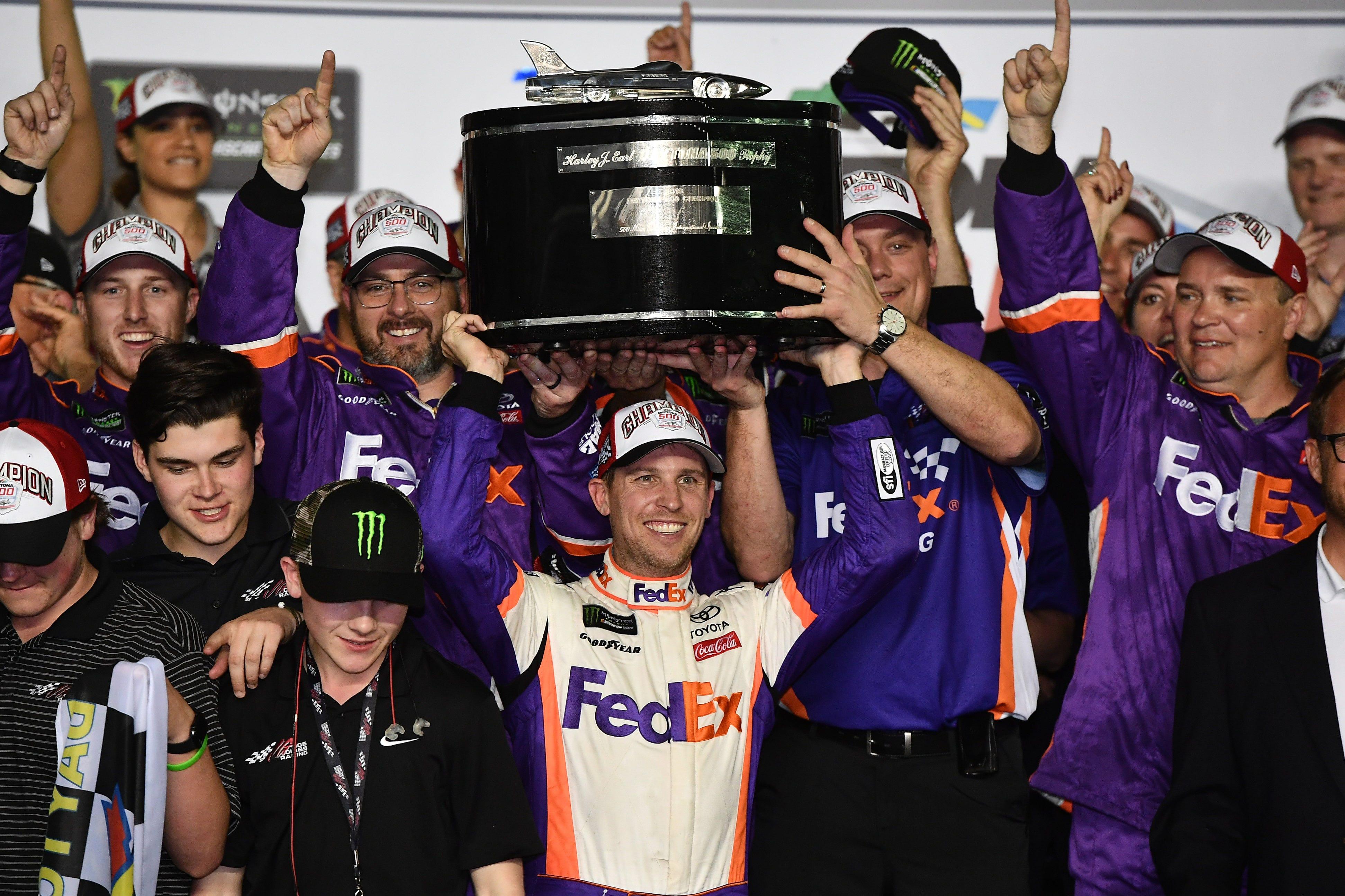 Denny Hamlin's Daytona 500 win provides emotional tribute to deceased J.D. Gibbs