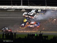 Wrecks cause late-race chaos, delays before Denny Hamlin wins Daytona 500 in OT