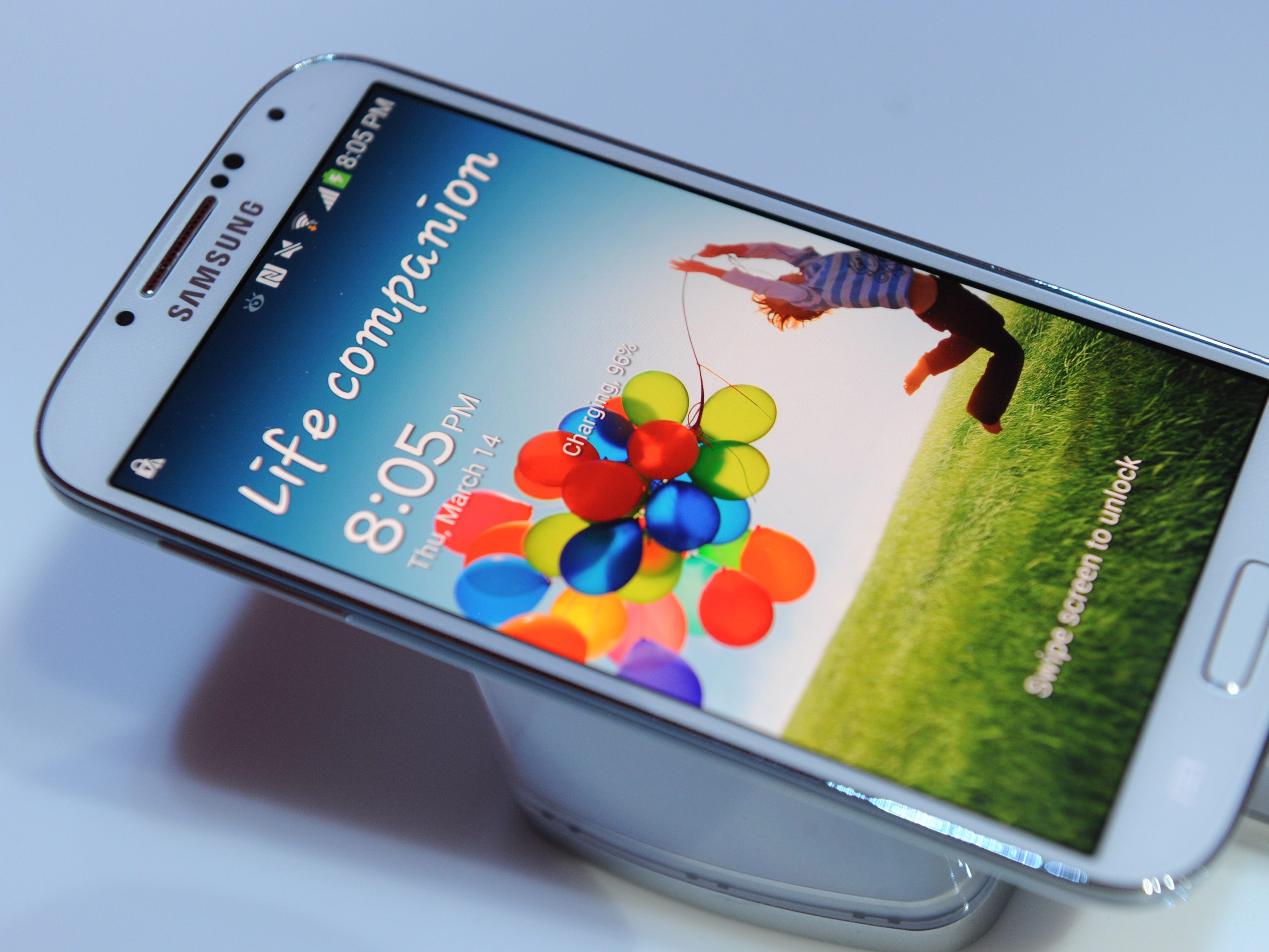 A Galaxy S4 is during its unveiling, March 14, 2013 in New York.