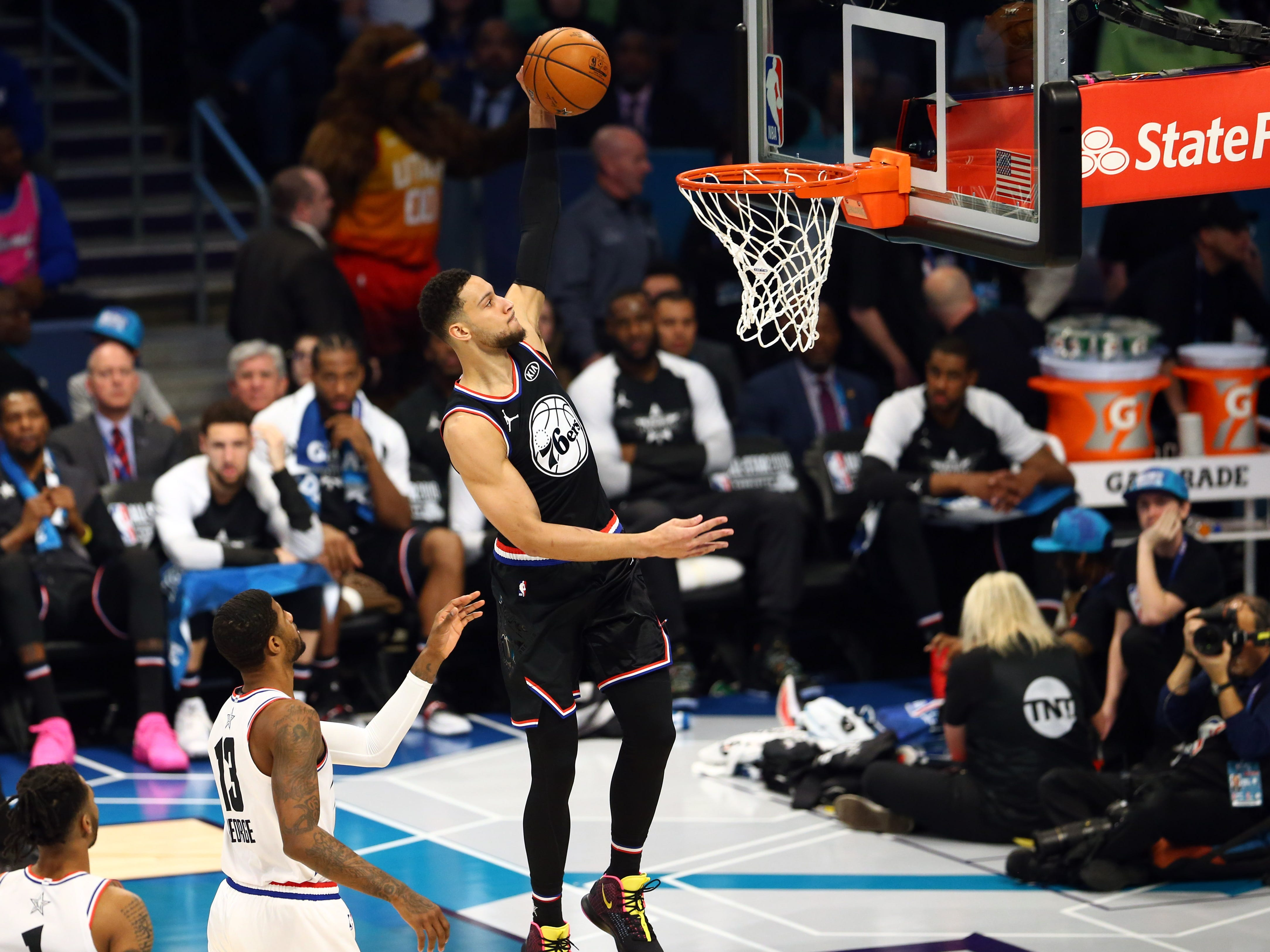 Ben Simmons soars for a dunk during the All-Star Game.