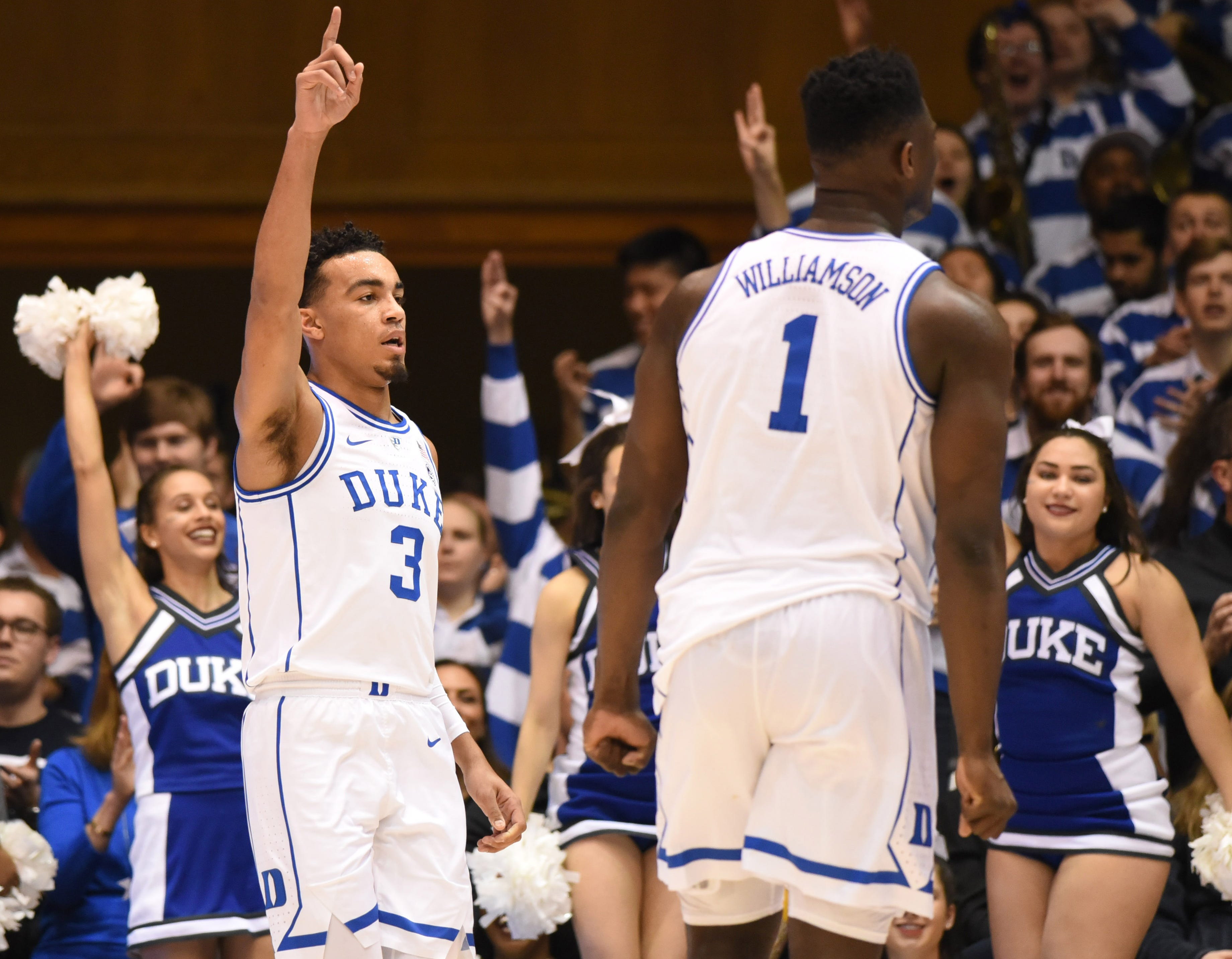 Duke guard Tre Jones (3) reacts after scoring during the first half against  North Carolina State.