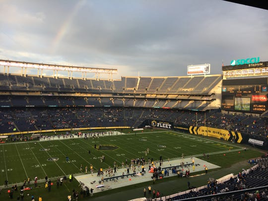 SDCCU Stadium shown at the start of a San Diego Fleet vs. Atlanta Legends AAF game.