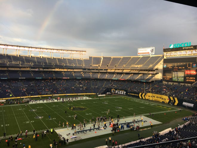 An overview of SDCCU Stadium in San Diego.