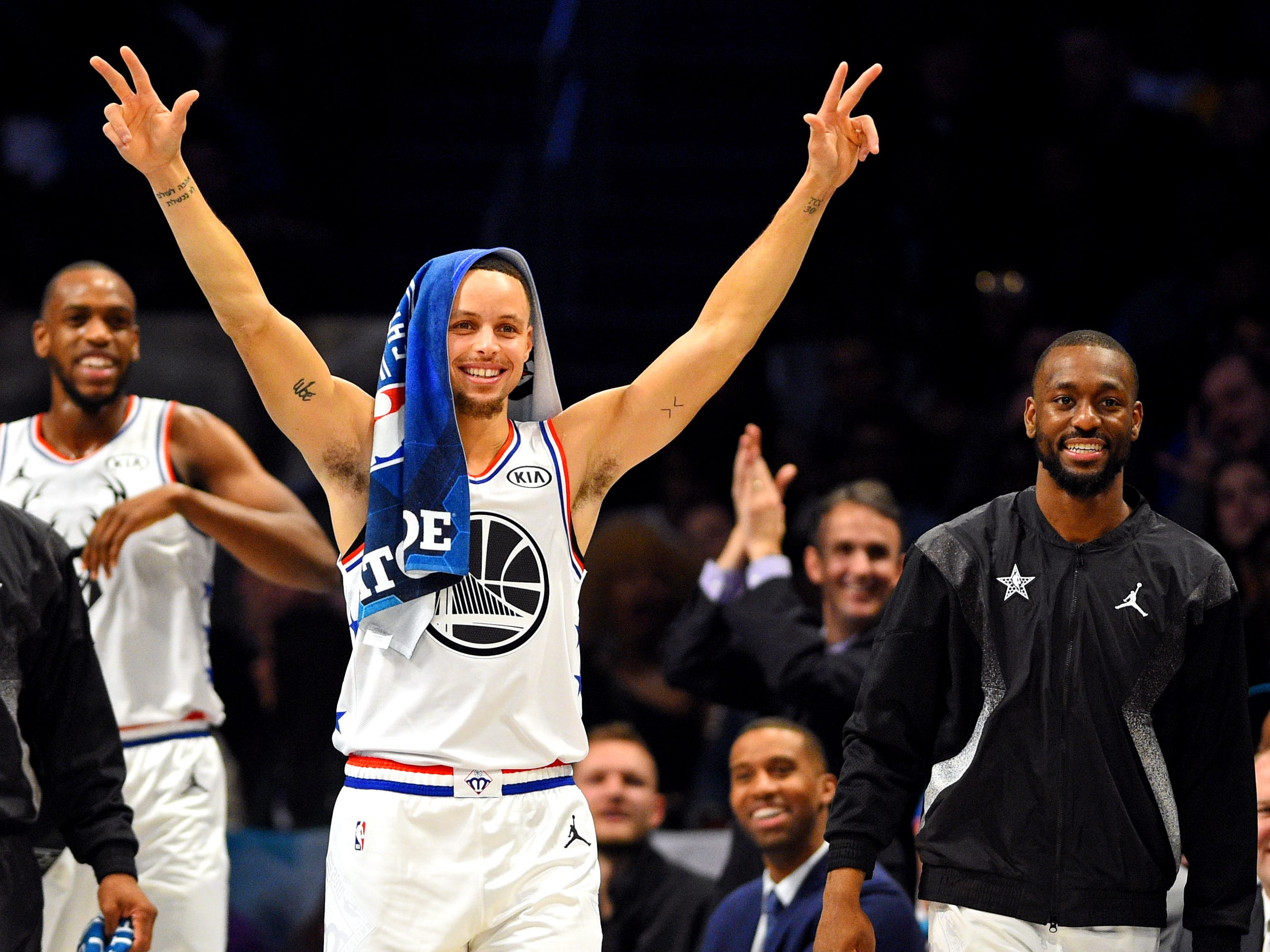 Stephen Curry reacts during the All-Star Game.