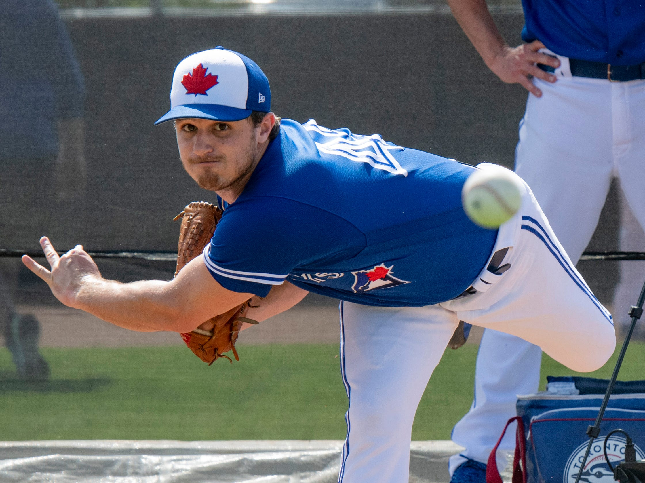 Feb. 17: Blue Jays pitcher Thomas Pannone during workouts.