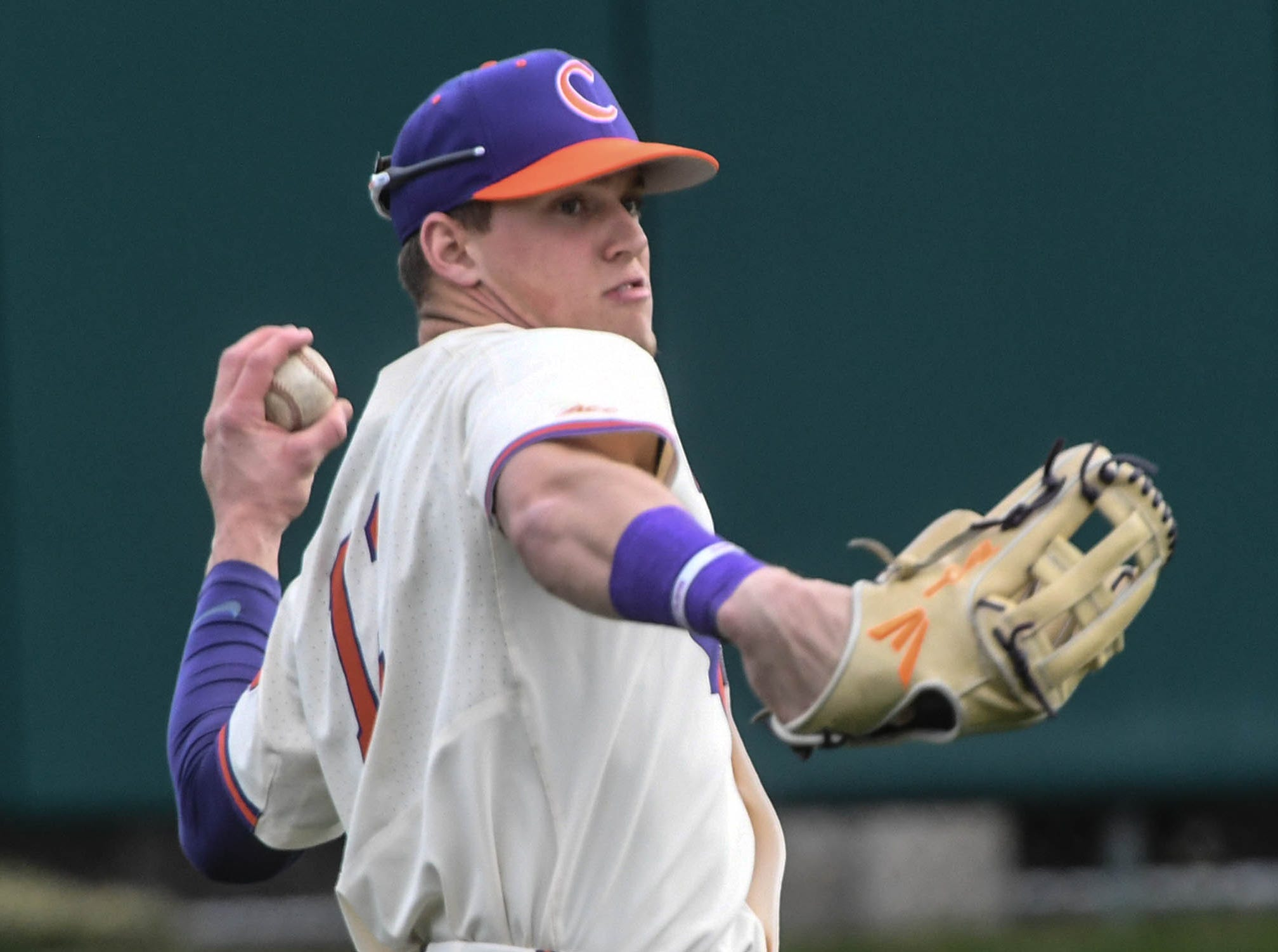 Clemson sophomore Michael Green(11) warms up before the game with Charlotte at Doug Kingsmore Stadium in Clemson Monday, February 18, 2019.