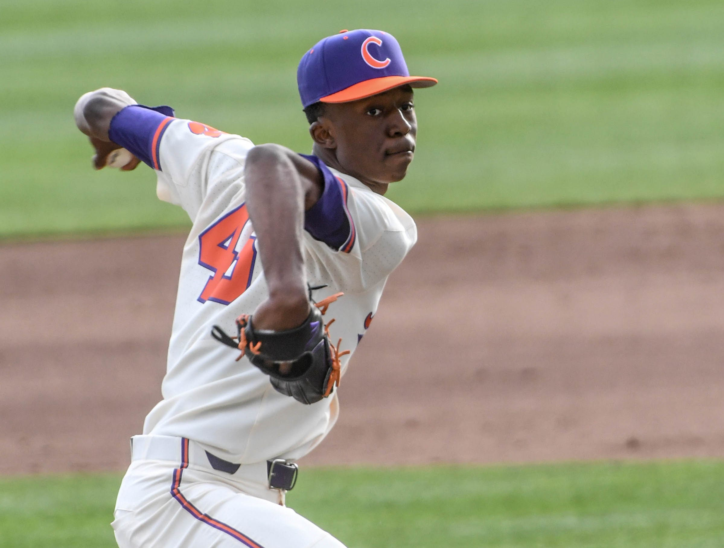 Clemson freshman Keyshawn Askew(46) pitches against Charlotte during the top of the second inning at Doug Kingsmore Stadium in Clemson Monday, February 18, 2019.