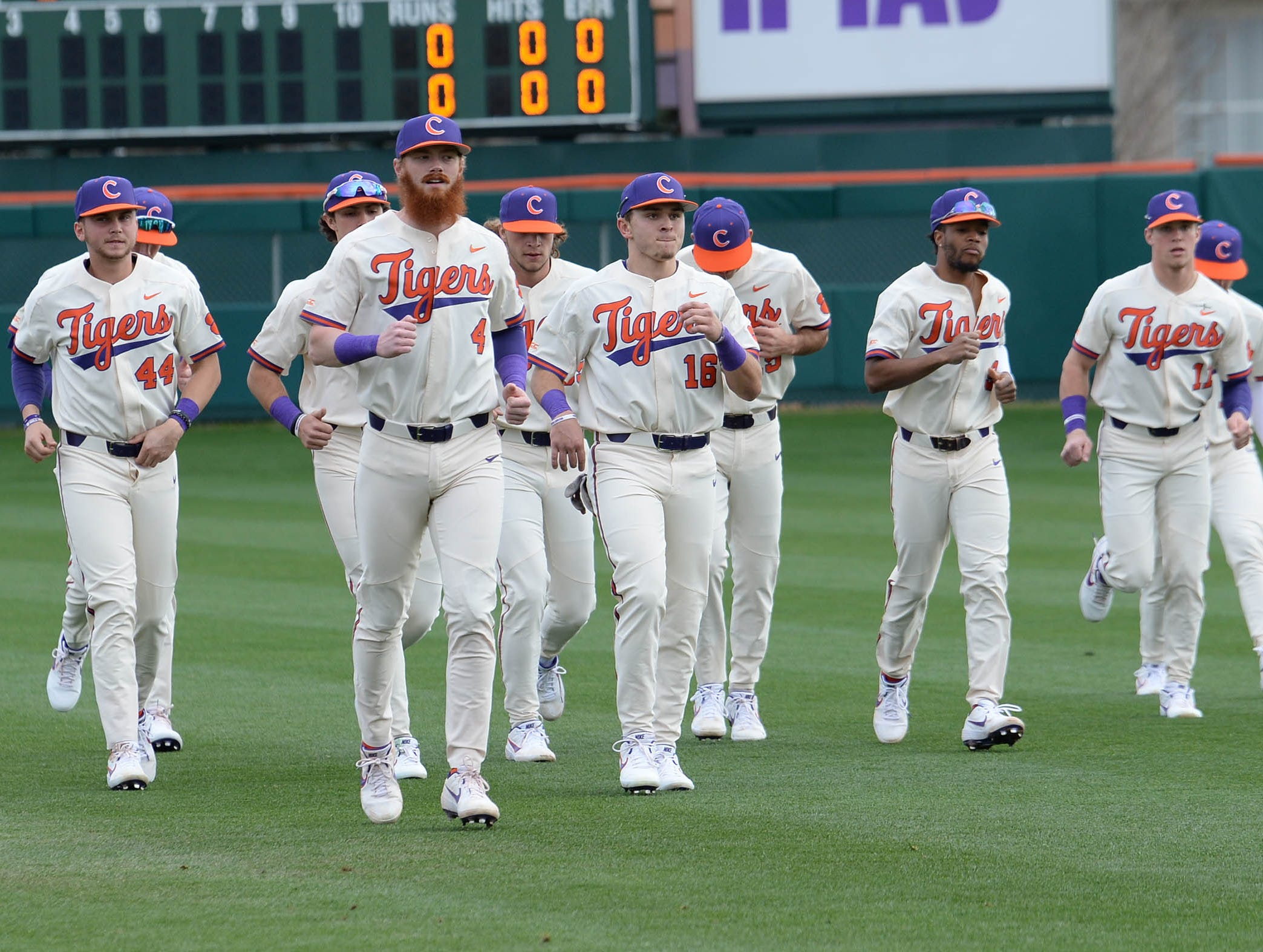 Clemson players warm up before the game with Charlotte at Doug Kingsmore Stadium in Clemson Monday, February 18, 2019.