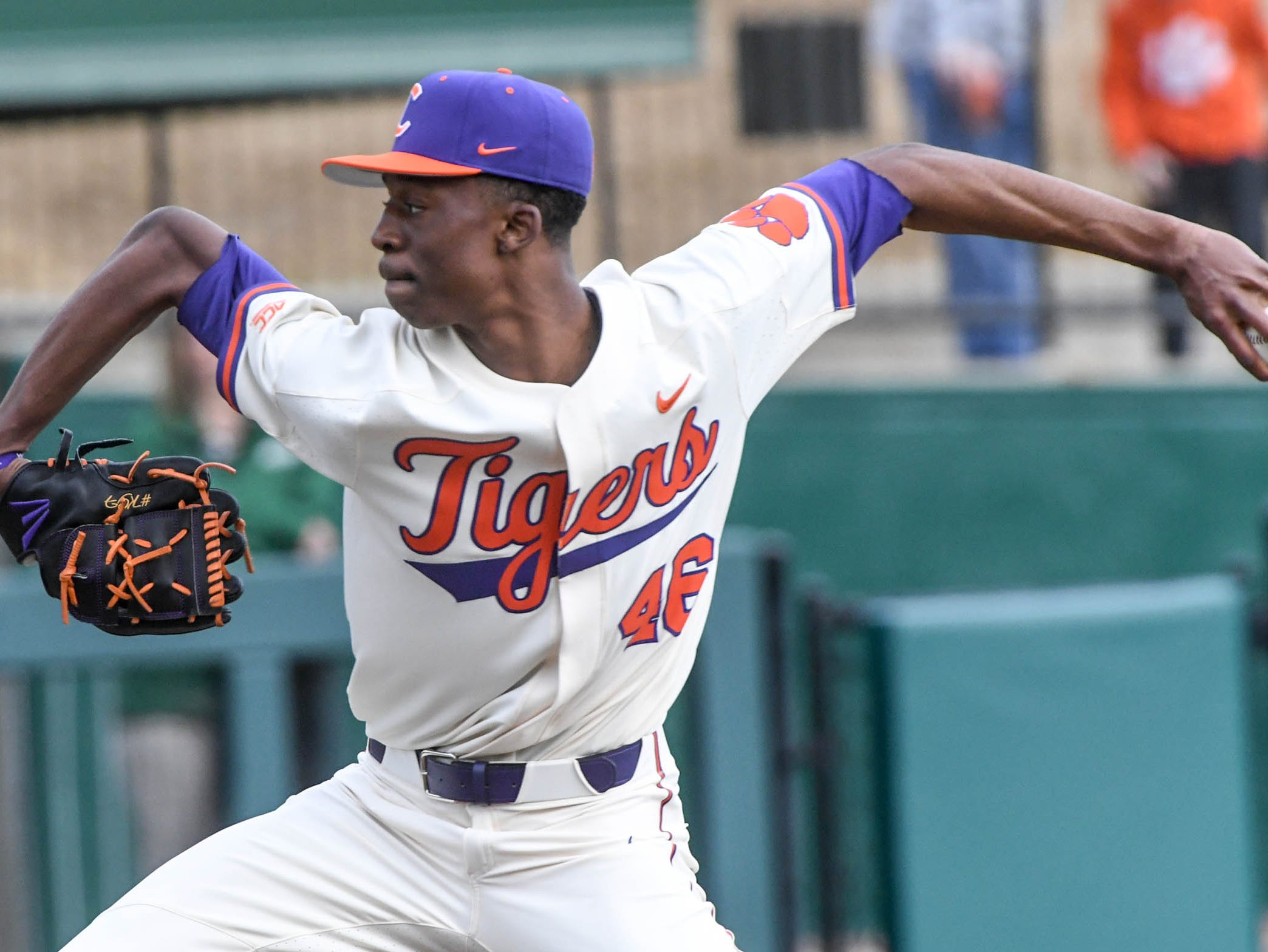 Clemson freshman Keyshawn Askew(46) warms up before the game with Charlotte at Doug Kingsmore Stadium in Clemson Monday, February 18, 2019.