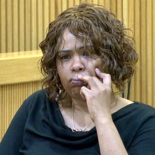 Narika Scott testifies at the murder trial of Ebenezer Byrd, Gregory Jean-Baptiste and Jerry Spaulding, in State Superior Court in Freehold Tuesday, February 19, 2019.  Scott, one of Byrd's girlfriends, has testified Byrd admitted his role in the murder of the former school teacher Jonelle Melton to her.