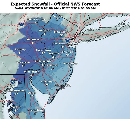 A few inches of snow are expected for parts of New Jersey on Wednesday.