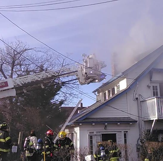 Route 36 reopened after Highlands house fire