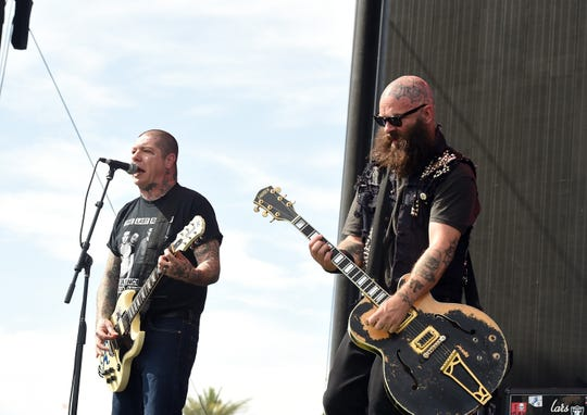 Musicians Lars Frederiksen, left, and Tim Armstrong of Rancid perform at the Coachella Valley Music & Arts Festival at the Empire Polo Club on April 24, 2016 in Indio, California.