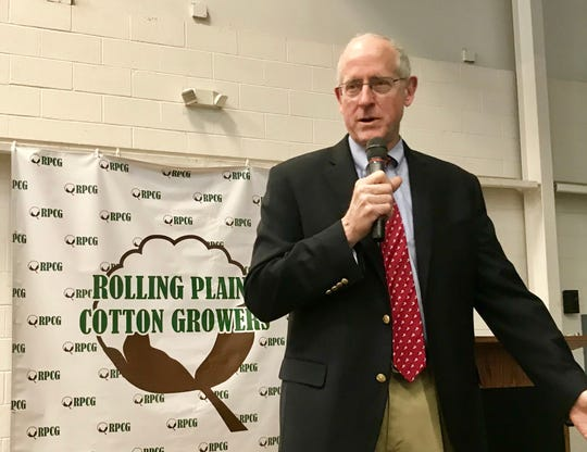 U.S. Rep. Mike Conaway speaks Tuesday afternoon to those attending the Rolling Plains Cotton Growers meeting. The Texas Republican, who until Jan. 1 chaired the House ag committee, was schedule to speak at the organization's luncheon but had scheduling changes.