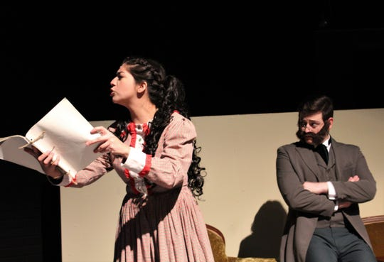 "Jo (Cameron Flores) reads from her manuscript while Professor Bhaer (Dakota Medlin) listens in this rehearsal scene from ""Little Women: A Musical"" at Hardin-Simmons University."