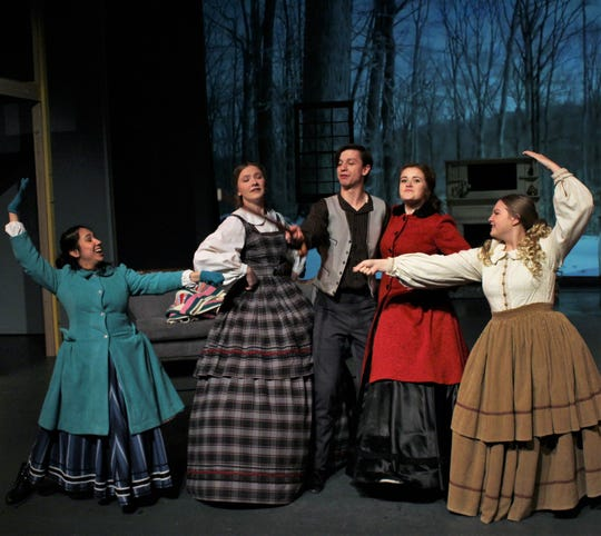 """From left:  The March sisters Amy (Amy Arevalo), Meg (Emily Hatch), Jo (Maddie Lowry) and Beth (Julia Hollingsworth) surround Laurie (Michael Bentea Kelly) in this dance scene from """"Little Women: A Musical,"""" which opens Wednesday at Hardin-Simmons Univeristy."""