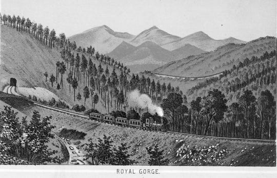 "The railroad from Old Fort to Black Mountain, published in ""Western North Carolina R.R. Scenery, 'Land of the Sky'"" by Western North Carolina Railroad Company."