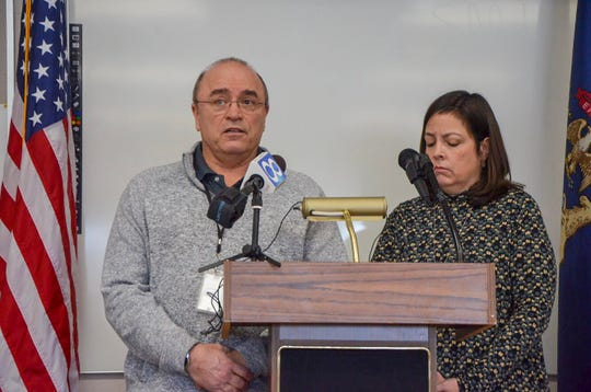 City of Battle Creek Utility Administrator Perry Hart (left) and City Manager Rebecca Fleury speak about a water main break at a press conference on Tuesday, Feb. 19, 2019.