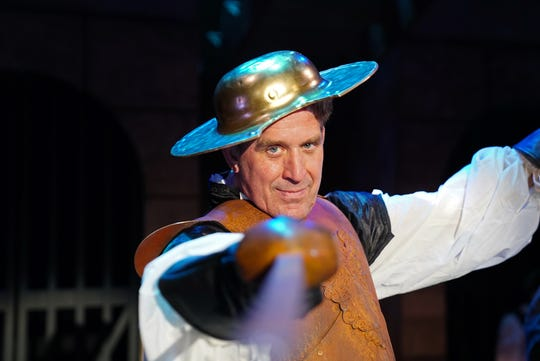 """Gregory Galbreath  plays the Barber, the Governor and Prisoner in the stage version of the life of Miguel de Cervantes and his novel, """"Don Quixote."""""""