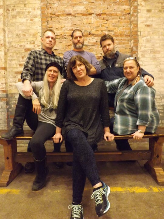 """From left to right (front), Monica Callan, Tracey Girdich and Syndi Zook and (back) Gene Heinrich, Aaron Masi and Todd Townsend performed in January and February 2019 in """"The Stick Wife"""" at the Off Center for the Dramatic Arts in Burlington."""