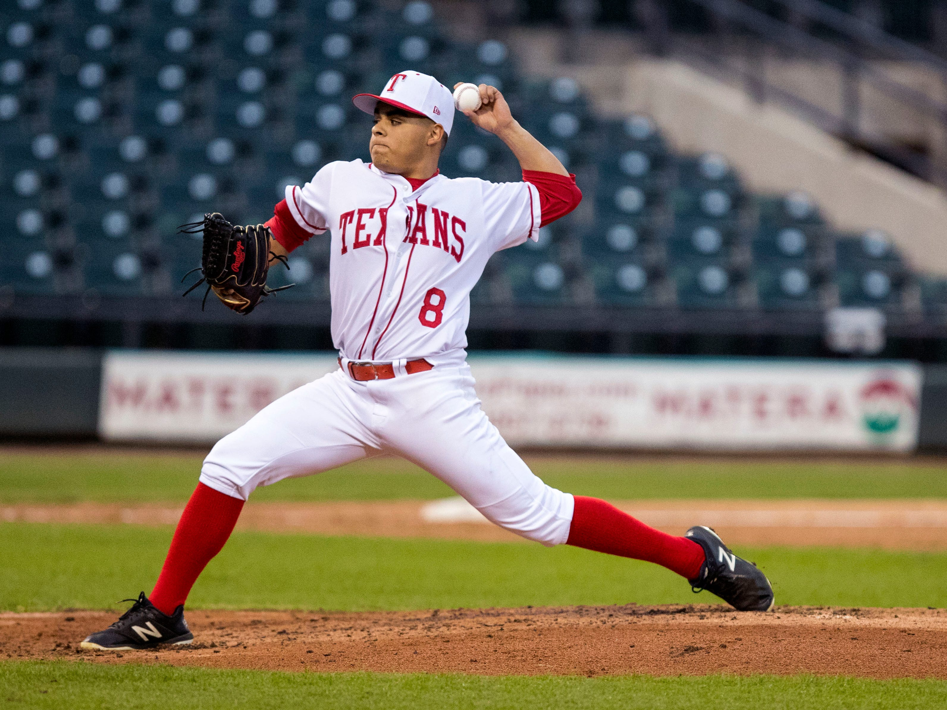 Ray Texans pitcher Isaac Flores gave up seven runs in the game against the Moody Trojans during the season opener at Whataburger Field on Monday, February 18, 2019. Moody took an early lead to beat Ray 7-3.
