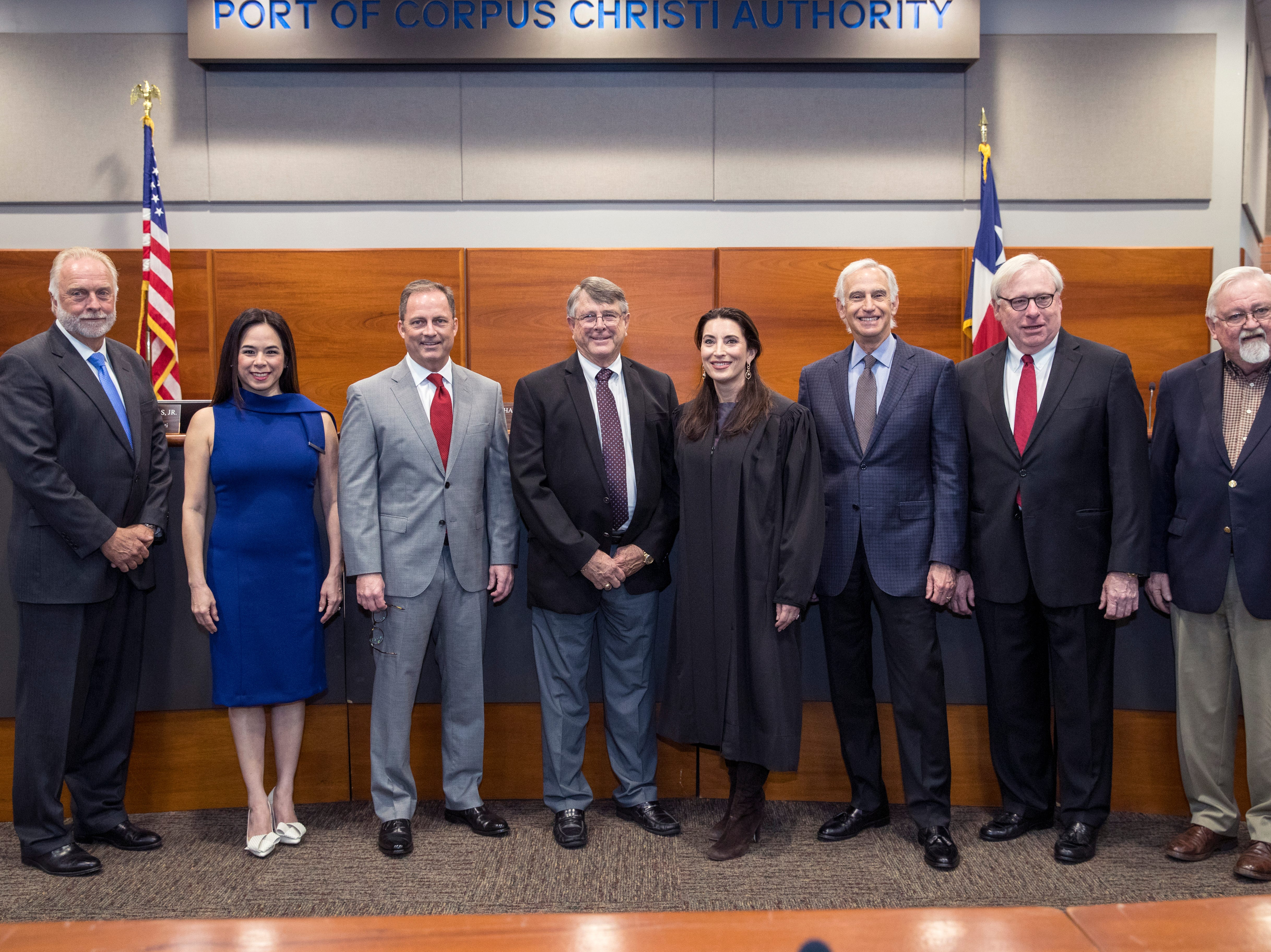 Nueces County Judge Barbara Canales swore in three port commissioners on February 19, 2019.