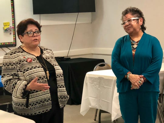 Corpus Christi American Federation of Teachers president Nancy Vera  introduces Patricia Castillo, executive director of the Putting an End to Abuse through Community Efforts Initiative in San Antonio on Feb. 18, 2019.