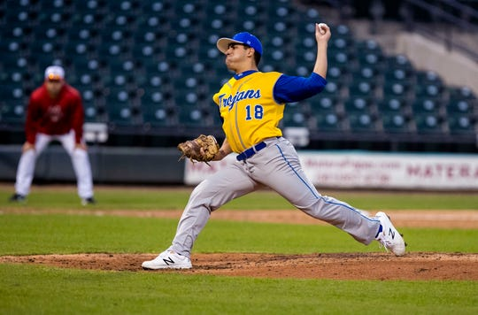 Moody Trojans pitcher Josh Salinas held the Ray Texans to three runs during the season opener at Whataburger Field on Monday, February 18, 2019. Moody took an early lead to beat Ray 7-3.
