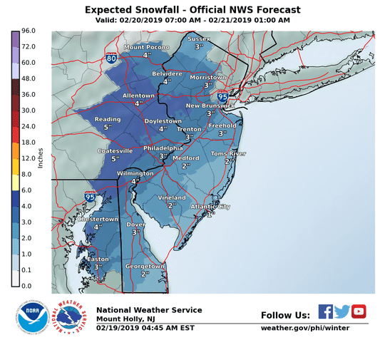 A mix of snow, ice and rain is forecast for South Jersey.