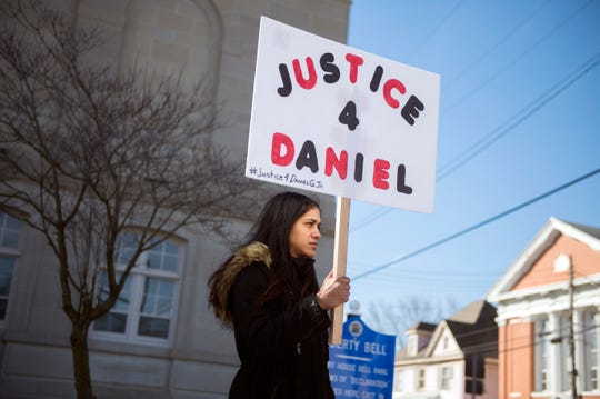 Keishla Ayala of Vineland shows support for 23-month-old victim Daniel Griner Jr. following a detention hearing for his mother Nakira Griner Tuesday, Feb. 19, 2019 at Cumberland County Superior Court in Bridgeton, N.J. Griner, who is charged with killing her son, is in protective custody and will be held pending trial.