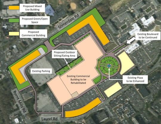 A redevelopment plan suggests new construction and renovations for the mall at Voorhees Town Center.