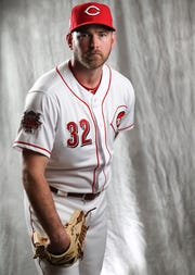 Cincinnati Reds relief pitcher Zach Duke (32) poses for a portrait on picture day, Tuesday, Feb. 19, 2019, at the Cincinnati Reds spring training facility in Goodyear, Arizona.