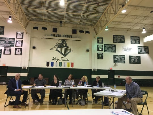 Silver Grove Board Education members meet in a gym below the school district's Big Trains mascot Feb. 11 during a meeting to decide whether to merge with Campbell County. The school district and City of Silver Grove were founded in 1911 when the Chesapeake & Ohio Railway built a yard in the town.