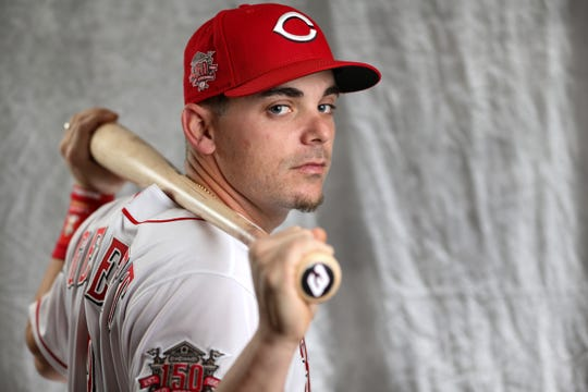 Cincinnati Reds second baseman Scooter Gennett (3) poses for a portrait on picture day, Tuesday, Feb. 19, 2019, at the Cincinnati Reds spring training facility in Goodyear, Arizona.