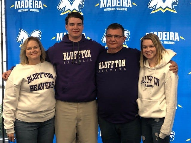 Josh Slade of Madeira, joined by his family, signed to play baseball for Bluffton College.