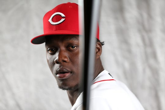 Cincinnati Reds outfielder Aristides Aquino (71) poses for a portrait on picture day, Tuesday, Feb. 19, 2019, at the Cincinnati Reds spring training facility in Goodyear, Arizona.