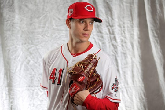 Cincinnati Reds pitcher Matt Wisler (41) poses for a portrait on picture day, Tuesday, Feb. 19, 2019, at the Cincinnati Reds spring training facility in Goodyear, Arizona.