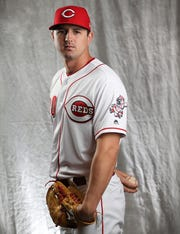 Cincinnati Reds starting pitcher Tyler Mahle (30) poses for a portrait on picture day, Tuesday, Feb. 19, 2019, at the Cincinnati Reds spring training facility in Goodyear, Arizona.
