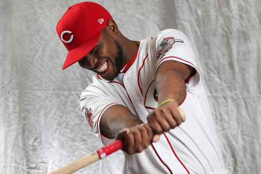 Cincinnati Reds infielder Alfredo Rodriguez (69) poses for a portrait on picture day, Tuesday, Feb. 19, 2019, at the Cincinnati Reds spring training facility in Goodyear, Arizona.