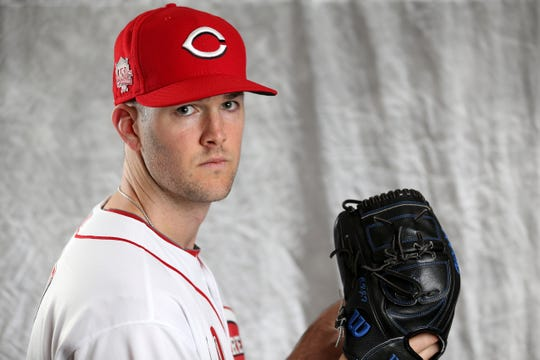 Cincinnati Reds pitcher Alex Wood (40) poses for a portrait on picture day, Tuesday, Feb. 19, 2019, at the Cincinnati Reds spring training facility in Goodyear, Arizona.