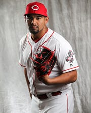 Cincinnati Reds pitcher Tony Santillan (85) poses for a portrait on picture day, Tuesday, Feb. 19, 2019, at the Cincinnati Reds spring training facility in Goodyear, Arizona.
