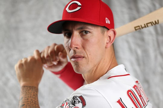 Cincinnati Reds relief pitcher Michael Lorenzen (21) poses for a portrait on picture day, Tuesday, Feb. 19, 2019, at the Cincinnati Reds spring training facility in Goodyear, Arizona.